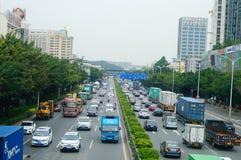107 κρατικός δρόμος, Shenzhen, τμήμα Baoan του τοπίου κυκλοφορίας Στοκ Εικόνες