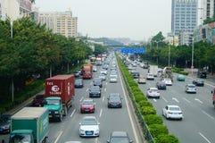 107 κρατικός δρόμος, Shenzhen, τμήμα Baoan του τοπίου κυκλοφορίας Στοκ Φωτογραφία