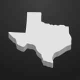 Κρατικός χάρτης του Τέξας σε γκρίζο σε ένα μαύρο υπόβαθρο τρισδιάστατο απεικόνιση αποθεμάτων