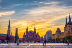 Κρατικό ιστορικό μουσείο στο ηλιοβασίλεμα, Μόσχα, Ρωσία, 01 07 2015 Στοκ Φωτογραφίες