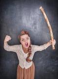 0 κραυγάζοντας δάσκαλος με το ξύλινο ραβδί Στοκ φωτογραφίες με δικαίωμα ελεύθερης χρήσης