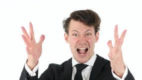 Κραυγάζοντας, τρελλός επιχειρηματίας στο άσπρο υπόβαθρο Στοκ Εικόνες