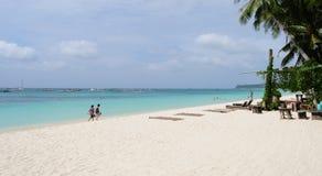 Κρεβάτια ήλιων στη μόνη παραλία, Boracay Στοκ φωτογραφίες με δικαίωμα ελεύθερης χρήσης