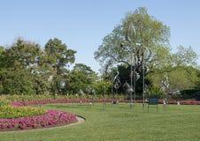 Κρεβάτια Windsculptures και λουλουδιών, δενδρολογικός κήπος του Ντάλλας και βοτανικός κήπος Στοκ Φωτογραφίες