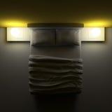 Κρεβάτι με τα μαξιλάρια και ένα κάλυμμα στο δωμάτιο γωνιών, τρισδιάστατη απεικόνιση Στοκ εικόνα με δικαίωμα ελεύθερης χρήσης