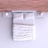 Κρεβάτι με τα μαξιλάρια και ένα κάλυμμα στο δωμάτιο γωνιών, τρισδιάστατη απεικόνιση Στοκ Φωτογραφία