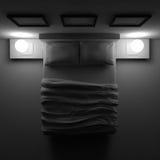 Κρεβάτι με τα μαξιλάρια και ένα κάλυμμα στο δωμάτιο γωνιών, τρισδιάστατη απεικόνιση Στοκ εικόνες με δικαίωμα ελεύθερης χρήσης