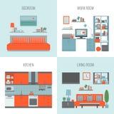 Κρεβατοκάμαρα, κουζίνα, δωμάτιο εργασίας, καθιστικό Εσωτερικό SE μπροστινής άποψης Ελεύθερη απεικόνιση δικαιώματος