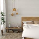 Κρεβατοκάμαρα με ελαφριοί μπεζ τόνοι απεικόνιση αποθεμάτων