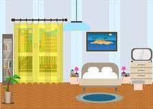 Κρεβατοκάμαρα με τα έπιπλα και ένα παράθυρο Έξω από την οδό ελεύθερη απεικόνιση δικαιώματος