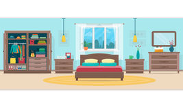 Κρεβατοκάμαρα με τα έπιπλα και το παράθυρο ελεύθερη απεικόνιση δικαιώματος