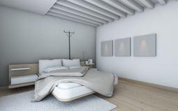 Κρεβατοκάμαρα στο λευκό Στοκ φωτογραφία με δικαίωμα ελεύθερης χρήσης