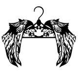 Κρεμάστρα με το μαύρο διανυσματικό σχέδιο φτερών Στοκ εικόνα με δικαίωμα ελεύθερης χρήσης