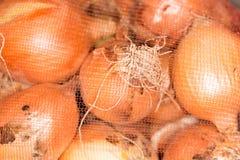 Κρεμμύδια σε μια τσάντα Στοκ Εικόνα