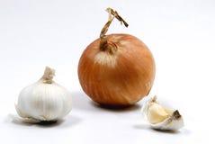 κρεμμύδια σκόρδου σύνθεσης Στοκ εικόνα με δικαίωμα ελεύθερης χρήσης