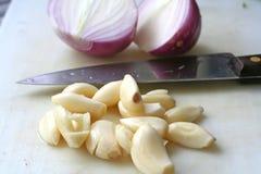 κρεμμύδια σκόρδου Στοκ Φωτογραφίες