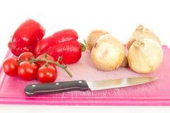 Κρεμμύδια και ντομάτες πιπεριών Στοκ Φωτογραφία