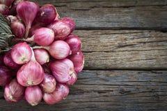 Κρεμμύδια στο ξύλο Στοκ Φωτογραφίες