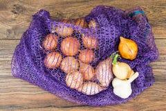 Κρεμμύδι σε ένα πλέγμα στοκ εικόνες με δικαίωμα ελεύθερης χρήσης