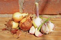 Κρεμμύδι, σκόρδο Στοκ Εικόνες