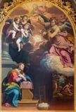 ΚΡΕΜΟΝΑ, ΙΤΑΛΙΑ: Annunciation ζωγραφική από το Giovanni Battista Trotti στον καθεδρικό ναό της υπόθεσης της ευλογημένης Virgin Ma Στοκ εικόνες με δικαίωμα ελεύθερης χρήσης