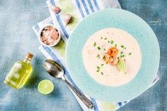 Κρεμώδης σούπα γαρίδων στοκ φωτογραφία