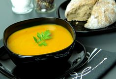 Κρεμώδης σούπα κολοκύθας Κλείστε επάνω την όψη Στοκ Εικόνες
