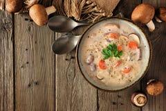 Κρεμώδης σούπα μανιταριών, τοπ σκηνή άποψης πέρα από το ξύλο με το διάστημα αντιγράφων στοκ φωτογραφία
