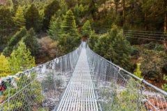 Κρεμώντας γέφυρα αναστολής στο Νεπάλ Στοκ εικόνες με δικαίωμα ελεύθερης χρήσης