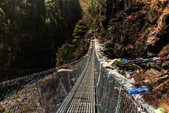 Κρεμώντας γέφυρα αναστολής στο Νεπάλ Στοκ Φωτογραφίες