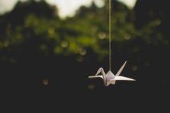 Κρεμώντας γερανός Origami Στοκ Φωτογραφία