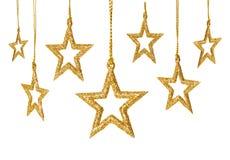 Κρεμώντας διακόσμηση αστεριών Χριστουγέννων, νέα αστέρια σπινθηρισμάτων έτους καθορισμένα Στοκ Φωτογραφίες