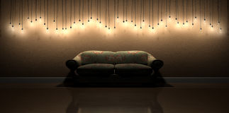 Κρεμώντας διακόσμηση τοίχων λαμπών φωτός στο δωμάτιο με το εκλεκτής ποιότητας Floral S Στοκ Φωτογραφία
