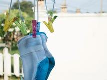 κρεμώντας κάλτσες Στοκ Εικόνες