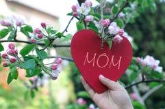 Κρεμώντας καρδιά παιδιών στον κλάδο στην άνθιση Στοκ Φωτογραφίες