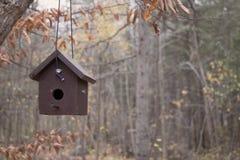 Κρεμώντας καφετί σπίτι πουλιών Στοκ Φωτογραφία