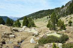 Κρεμώντας κοιλάδα του vall-de-Madriu-Perafita-Claror στοκ εικόνα