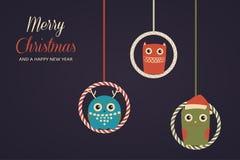 Κρεμώντας κουκουβάγιες Χριστουγέννων Στοκ Εικόνες