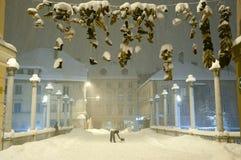 Κρεμώντας παπούτσια στη χιονοθύελλα - Λουμπλιάνα - Σλοβενία Στοκ φωτογραφίες με δικαίωμα ελεύθερης χρήσης