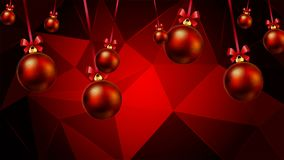Κρεμώντας σφαίρες Χριστουγέννων σε ένα κόκκινο τριγωνικό υπόβαθρο απεικόνιση αποθεμάτων