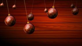 Κρεμώντας σφαίρες Χριστουγέννων σφαίρες στις κόκκινες τριγωνικές backgroundHanging Χριστουγέννων σε ένα ξύλινο υπόβαθρο διανυσματική απεικόνιση