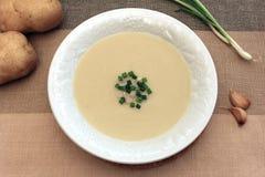 Κρεμώδης σούπα σκόρδου και πατατών Στοκ Εικόνα