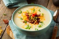 Κρεμώδης φορτωμένη ψημένη σούπα πατατών στοκ εικόνες με δικαίωμα ελεύθερης χρήσης