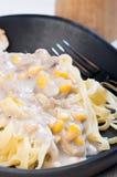 Κρεμώδη ζυμαρικά καλαμποκιού Στοκ Φωτογραφία