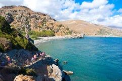 ΚΡΗΤΗ, ΕΛΛΑΔΑ 23 ΙΟΥΛΊΟΥ: Στενή πορεία στην παραλία τον Ιούλιο 23.2014 Preveli στην Κρήτη, Ελλάδα Η παραλία Preveli είναι τοποθετ Στοκ Φωτογραφίες