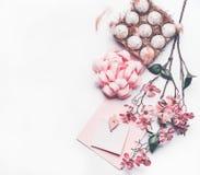 Κρητιδογραφία ρόδινο Πάσχα που συνθέτει με τη χλεύη ευχετήριων καρτών επάνω με τη διακόσμηση ανθών, φτερά, αυγά στο κιβώτιο χαρτο Στοκ φωτογραφία με δικαίωμα ελεύθερης χρήσης