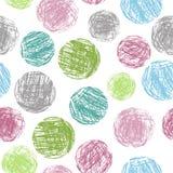 Κρητιδογραφιών μαλακό άνευ ραφής σχέδιο μορφών κύκλων χρώματος ζωηρόχρωμο γεωμετρικό Σχέδιο χεριών γύρω από τον καλλιτεχνικό αριθ Στοκ Φωτογραφία