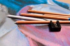 Κρητιδογραφία μολυβιών και αρχικό σχέδιο κρητιδογραφιών ακόμα της ζωής Στοκ εικόνες με δικαίωμα ελεύθερης χρήσης