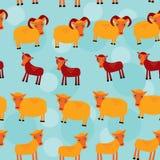 Κριός, προβατίνα και αρνί Σύνολο αστείων ζώων με cubs απεικόνιση αποθεμάτων