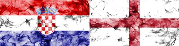 Κροατία εναντίον της σημαίας καπνού της Αγγλίας Στοκ Εικόνα